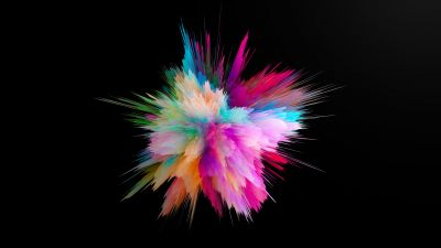 Color burst, Colorful, Explosion, CGI, Cosmic, Black background