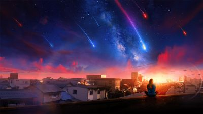 Alone, Girl, Woman, Falling stars, Town, Home, Milky Way, Dream, Surreal, Sunset, Calm