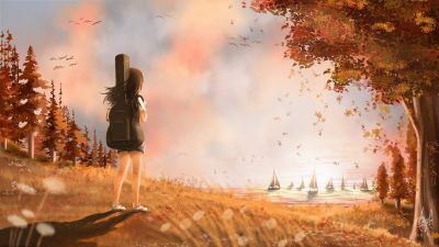 Alone, Girl, Autumn, Dream, Surreal, Digital paint, Sunset