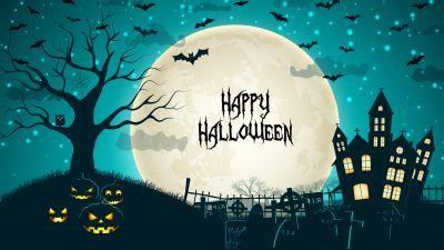 Happy Halloween, Haunted Castle, Scary, Halloween night, Halloween pumpkins, Bats