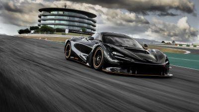 McLaren 720S GT3X, Sports cars, Race track, Black cars, 2021, 5K