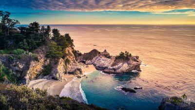 Big Sur, Rocks, California, USA, Scenery, Seascape, Beach, Serene, Evening, Ocean, Horizon, Trees, Scenic, 5K