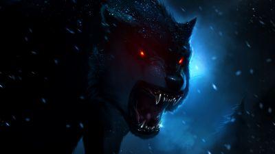 Black Wolf, Red eyes, Snow fall, Dark background, Night time, Hunter, Wild animal, Digital composition