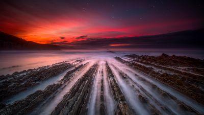 Flysch Formation, Zumaia, Spain, Sunset, Seascape, Long exposure, Dusk, Landscape, Scenery, 5K