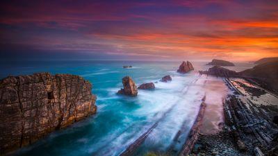 Playa De Portio, Spain, Arnía Beach, Rocky coast, Waves, Long exposure, Coastline, Cliff, Horizon, Landscape, Scenery, 5K
