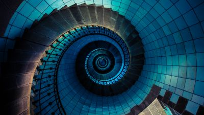 Spiral staircase, Île Vierge, France, Lighthouse, Steps, Look up, Pattern, Blue