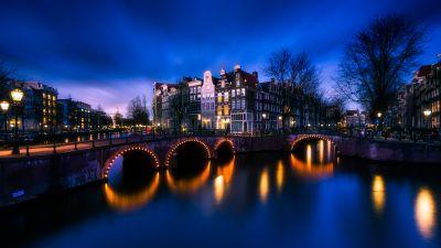 Amsterdam, Netherlands, Cityscape, Night time, City of Water, Reflection, Blue Sky, 5K