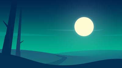 Full Moon, Night time, Roadway, Calm, Landscape, Flat, Digital Art, Minimalist