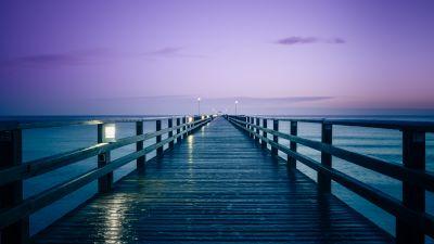 Prerow Pier, Germany, Seascape, Dusk, Purple sky, Body of Water, Baltic Sea, Sunrise, Horizon, 5K