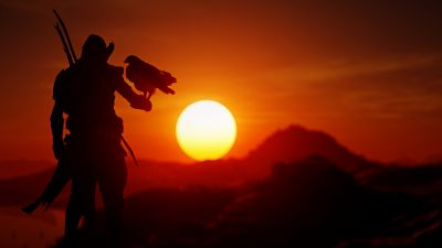 Assassin's Creed Origins, Sunset, Silhouette, Orange sky, Eagle, PlayStation 4 Xbox One, 2017 Games, PC Games, 5K