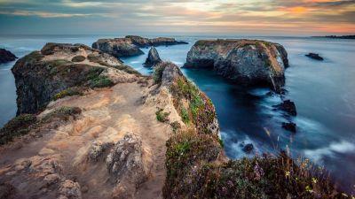 Mendocino, Sunrise, Seascape, Coastal, Cliff, Trails, Horizon, Long exposure, Landscape, Scenery, 5K