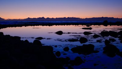 North Sea, Sunset, Dusk, Body of Water, Rocks, Reflection, Seascape, Clouds, 5K