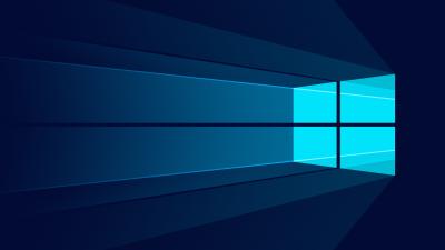 Windows 10, Minimalist, Windows logo, Blue background, Flat