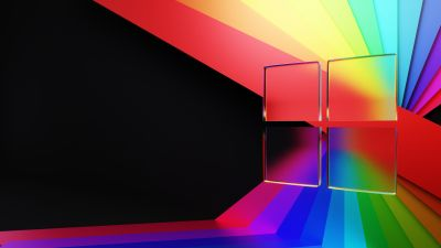 Windows 11, Glass, Colorful, Ribbons, Abstract, Windows logo, Frosty, Dark Mode, Black background