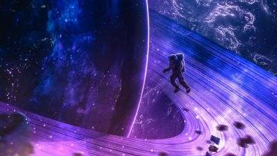 Astronaut, Space, Cosmos, Planet, Rings of Saturn, Orbit, Surreal, Universe