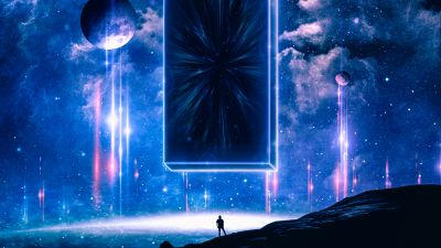 Monolith, Surreal, Planets, Clouds, Stars, Night, Cosmos