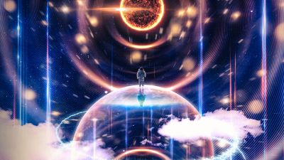 Astronaut, Surreal, Planets, Earth, Sun, Universe, Cosmos