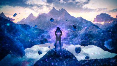 Power, Man, Energy, Particles, Surreal, Landscape, Purple