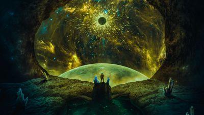 Astronaut, Explorer, Wanderer, Planets, Cosmos, Surreal