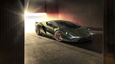 Lamborghini Sian, Hybrid sports car, 5K, 8K