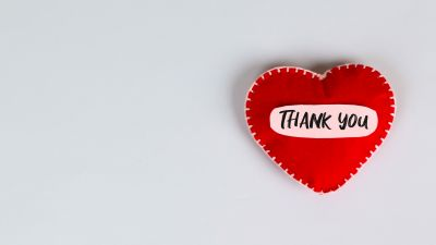 Love hearts, Red heart, Thank You, White background, 5K