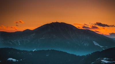 Mount St. Ursula, Peak, Dawn, Dusk, Sunset, Evening sky, Slovenia, 5K
