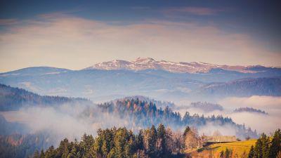 Kamnik Alps, Mountain range, Forest, Mountains, Landscape, Mist, Mountains, Travel, Scenery, Slovenia, 5K