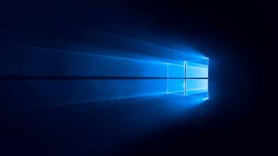 Windows 10, Dark, Blue background, 5K, 8K