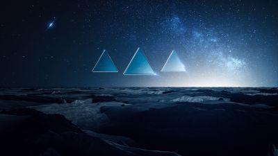 Winter, Cold, Starry sky, Triangles, Blue, Dark, Night, Fusion, Landscape