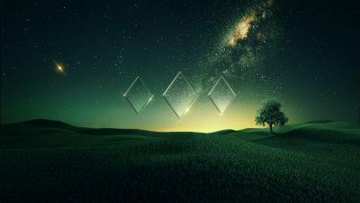 Starry sky, Sunset, Nebula, Green, Landscape, Fusion, Diamond shapes, Illusion