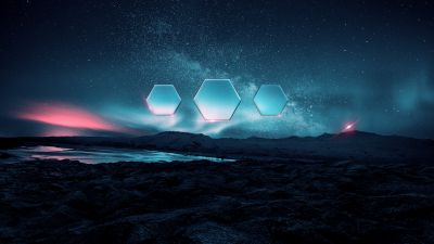 Night, Landscape, Aurora Borealis, Hexagons, Starry sky, Fusion