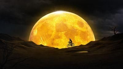 Moon, Night, Silhouette, Yellow, Dream, Surreal, Desert, Bicycle