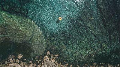 Seashore, Aerial view, Rocky coast, iOS 10, Stock, iPad