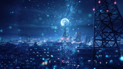 Dream, Blue, Cityscape, Snowfall, Moon, Cold night, Winter, Tower, Girly