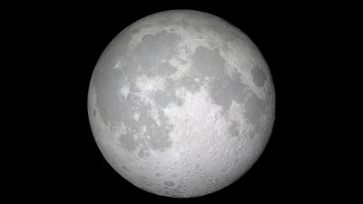 Moon, iOS 11, Black background, Stock, iPad