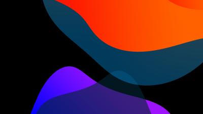 iOS 13, Stock, Multicolor, Black background, iPad, HD