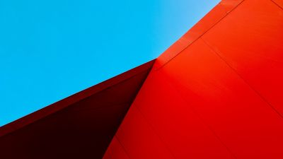 Modern architecture, Building, Metal, Blue sky, Red