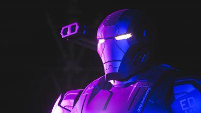 War Machine, Neon, Marvel Superheroes, Dark background, 5K