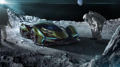 Lamborghini Lambo V12 Vision GT, Moon, Astronauts, 5K, 8K