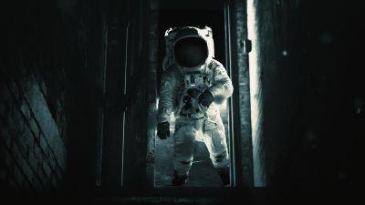 Astronaut, Exploration, Dark background, Space suit, Alone