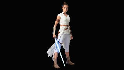 Rey, Daisy Ridley, Star Wars: The Rise of Skywalker, Black background, 5K, 8K