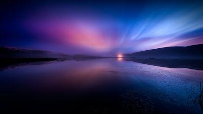 Aurora Borealis, Landscape, Dusk, Lake, Reflections, Dawn, 5K, 8K