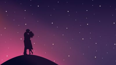 Kissing couple, Silhouette, Starry sky, Romantic, Lovers, Pair, Aesthetic, 5K