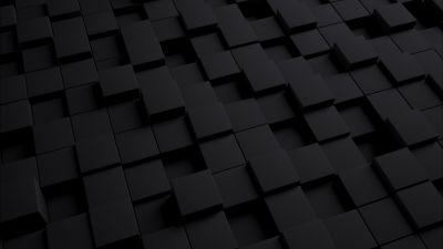 3D, Cubes, Squares, Dark