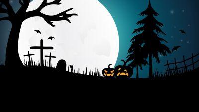 Halloween pumpkins, Moon, Night, Silhouette, 5K