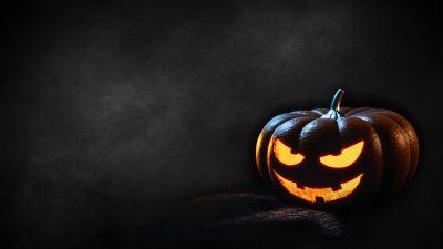 Halloween Pumpkin, Scary, Dark, Glowing