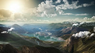 Mountains, Landscape, Lake, Sunny day, Sunlight, Clouds