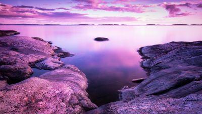Sunset, Scenery, Rocks, Lake, Purple sky, Pink, 8K
