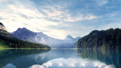 River, Mountains, Forest, Sunny day, Landscape, 5K, 8K