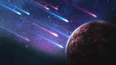 Planet, Comet, Galaxy, Asteroids, Colorful
